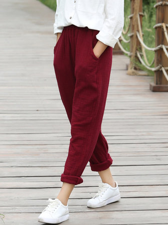 Women Elastic Waist Pocket Solid Pants