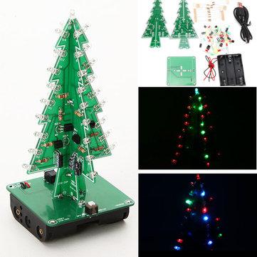 5Pcs Geekcreit® DIY Christmas Tree LED Flash Kit 3D Electronic Learning Kit