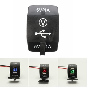 12V Dual USB Power Charger Socket W/ LED Voltmeter Voltage For Motorcycle Car Boat