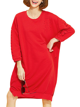 Casual Women Solid Hollow Out Long Sleeve Loose Sweatshirt Dress
