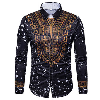 Mens Slim Ethnic Style Printing Casual Long Sleeve Designer Shirts