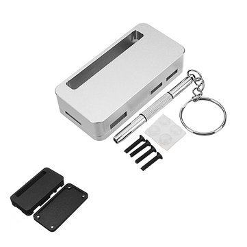 Black/Silver ZV1 CNC Aluminum Alloy Protective Case Enclosure Box With Screwdriver For Raspberry Pi Zero