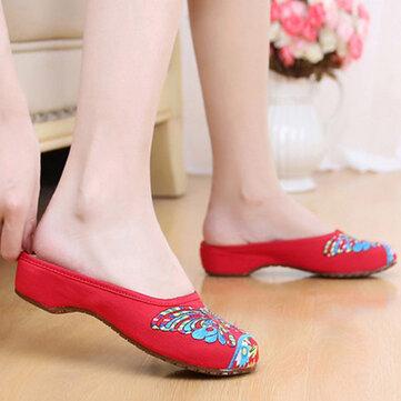Butterflyknot вышивка национального ветра ретро красочные открытой пятки скольжения на плоских тапочки обувь