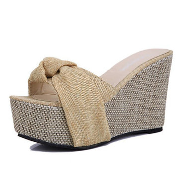 Women Platform Wedges High Heel Slipper Sandals Beach Flip Flops Pumps Peep Toe Sandals