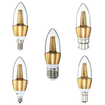 E27 E14 E12 B22 B15 4W 25 SMD 2835 LED Pure White Warm White Golden Candle Light Lamp Bulb AC85-265V