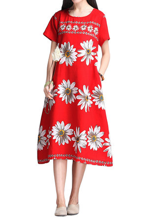 Ethnic Style Women Chrysanthemum Flower Print Cotton Linen Dress