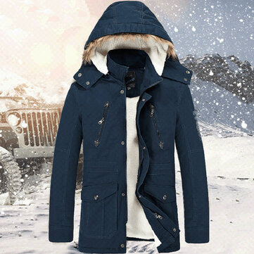 Mens Thickened Winter Warm Jacket Hooded Stand Collar Quality Jacket