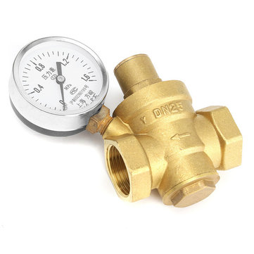 DN25 Pressure Maintaining Valve Tap Brass Water Pressure Regulator With Gauge