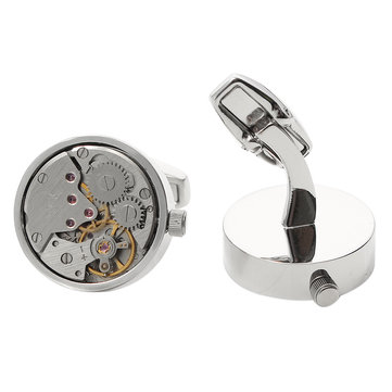 Mens Silver Mechanical Watch Pattern Bare Cufflinks Wedding Gift Suit Shirt Accessories