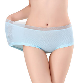 Ice Silk Transparent Rubber Band Elastic Mid Waist Solid Color Panties