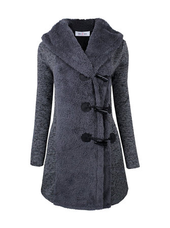 Women Horn Buttons Long Sleeve Thick Warm Hooded Coat
