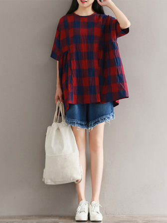 Casual Loose Plaid Half Sleeve O-neck Women Blouses