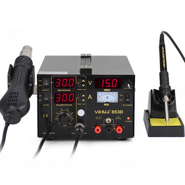 YIHUA 853D 3 in 1 Soldering Rework Station Solder Iron SMD Hot Air Gun DC Power Supply Kit