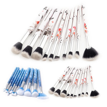 10Pcs Soft Makeup Brushes Set Blue Eye Shadow Foundation Powder Brush