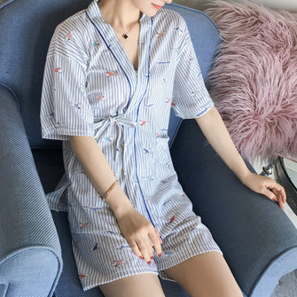 Women Loose Short Sleeve Open Lining Pocket Pajamas Set Two Pieces Sleepwear