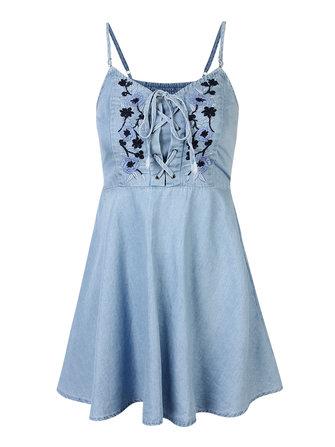 Women Vintage Embroidered Floral Denim Strap Mini Dress