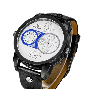 V6 PU Leather Band Analog Quartz Men Sport Wrist Watch