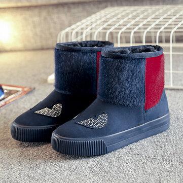 Высокий верхний снег Ботинки Повседневная меховая подкладка Хлопок Держите теплую повседневную обувь