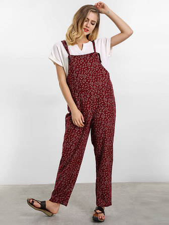 O-NEWE Women Printed Strap Pockets Jumpsuit