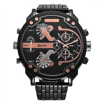 OULM 3548 Unique Design Full Steel Men Wrist Watch Three Time Zones Quartz Watches