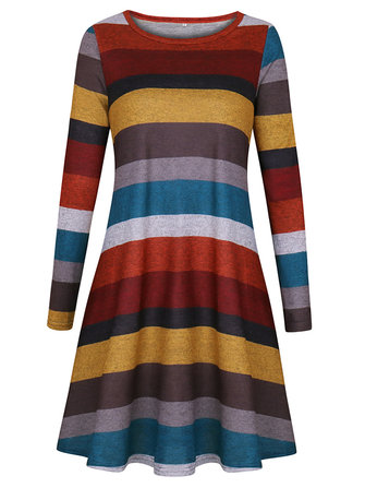 Casual Women Long Sleeve Multicolor Striped Mini Dress with Pocket