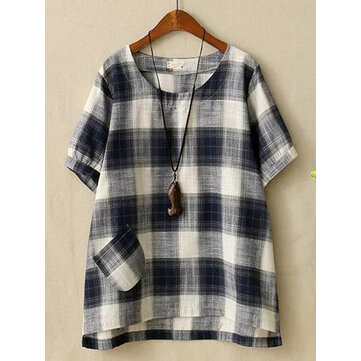 Women Cotton Linen Plaid O-neck Short Sleeve Blouse