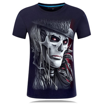 Plus Size S-4XL 3D Skull Printing Short Tees Personality Round Neck Short Sleeved T-shirt