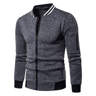 Men Fall Side Zipper Stitching Coats