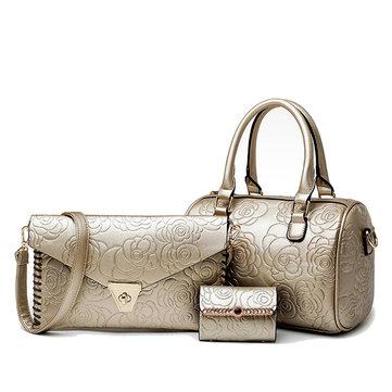 Women Leather 3-Sets Rose Pattern Handbag
