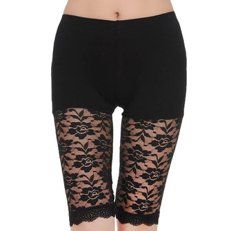 Comfy Soft Lace Printed Boyshort Stretchy Hollow Half Length Safety Panties