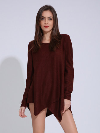 Women Casual Long Sleeve O-Neck Irregular Hem Pure Color Sweaters