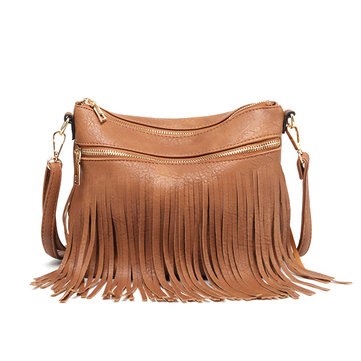 Women Faux Leather Fashion Tassel Sling Bag Crossbody Bag Shoulder Bag