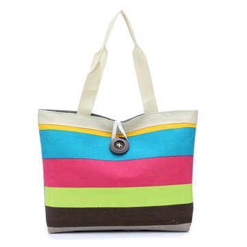 Women Canvas Patchwork Handbag Casual Tote