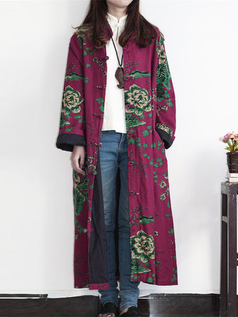 Plus Size Vintage Floral Print Frog Button Long Trench Coats For Women