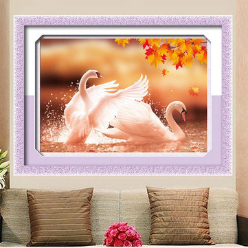 59x43cm 5D DIY Autumn Loving Swans Diamond Painting Full Rhinestone Animal Cross Stitch Kit