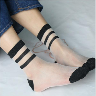 1 Pair Women Girls Transparent Socks Stripes Summer Crystal Lace Ultra Thin Ankle Socks