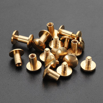 10pcs Stud Screw Round Head Solid Brass Nail Leather Rivet Chicago Button For DIY Leather Decoration