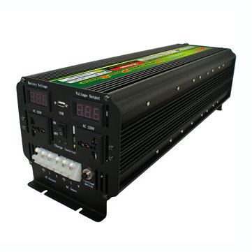 DC 12V/24V To AC 220V 5000W Power Inverter Converter Charger Dual LCD Display 10000W Peak