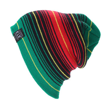 Unisex Stripe Warm Knitted Causal Outdoor Wool Hat