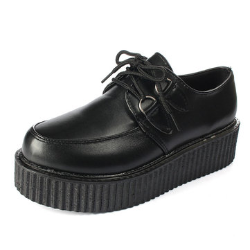 Women Ladies Casual Lace Up High Platform Flat Goth Punk Creeper Shoes