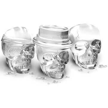 Skull Ice Molds Cocktails Whisky Ice Tray Halloween Party Spooky Cake Mold Fun Bar Accessories