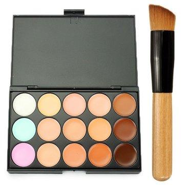 15 Colors Concealer Palette Blending Makeup Brush Wooden Handle Multi-Function