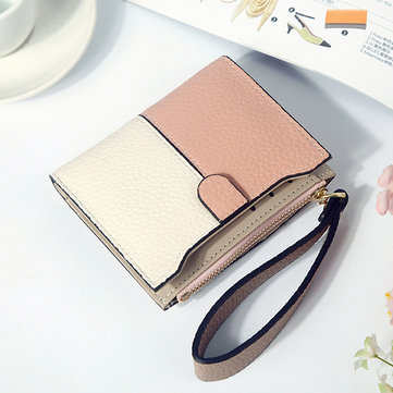 Women Faux Leather Stitching Color Patchwork Short Wallet