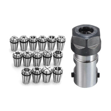 15pcs ER11 1-7mm Spring Chuck Collet with ER11A 5mm Extension Rod Holder for CNC Milling Lathe Tool