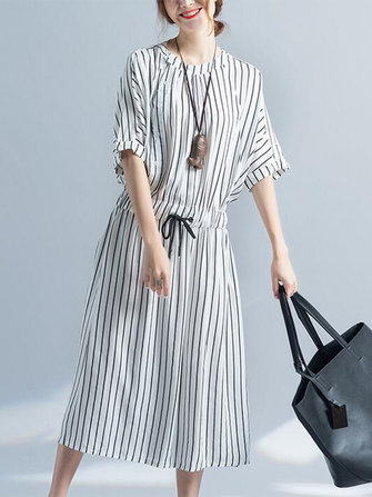 Women Vertical Stripe Dress Half Sleeve Elastic Waist Loose Dresses