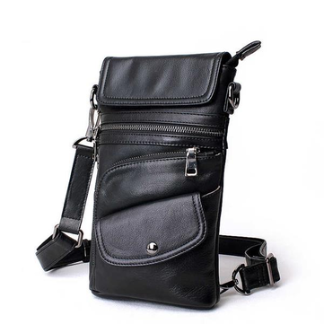 Bullcaptain® Men Genuine Leather Multifunction Crossbody Bag Shoulder Bag Chest Pack Waist Bag