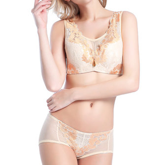 Sexy Anti Emptied Wireless Lace Embroidery Luxurious Bra set Breathable Thin Vest Brassiere