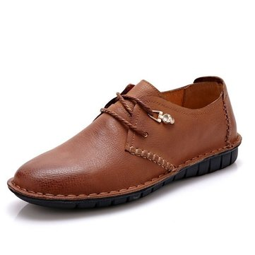 Soft Leather Lace Up Round Toe Formal Flat Oxfords