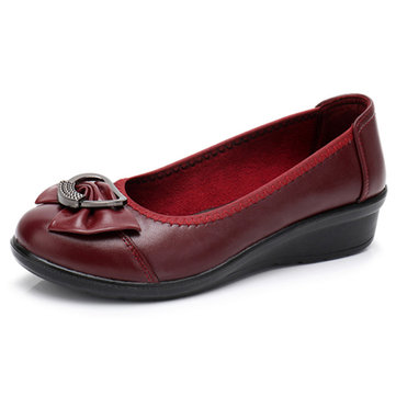 Women Wedges Shoes Bowtie Casual Slip On Loafers