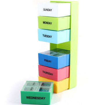 Weekly Medicine Boxes Pill Holder Storage Organizer Container Case Colorful 7 Days
